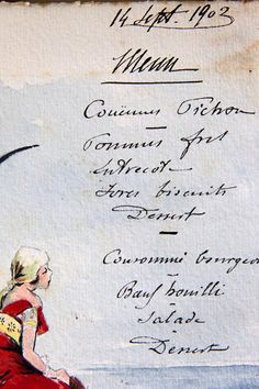 1903 French Watercolor Menu - handwritten