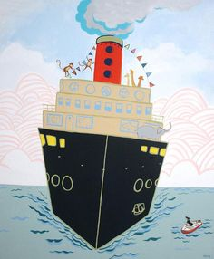illustration Art Transportation, Boat Illustration, Steam Boats, Happy New Home, Ship Paintings, Boat Art, Kids Decor, All Print, Wall Collage