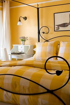 yellow room in farmhouse inn Forestville, CA Farmhouse Inn, Yellow Cottage, Yellow Houses, Pretty Bedroom, Theme Color, Mellow Yellow, Big Yellow, Master Bedroom Design, Master Suite