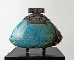 'I'll put all my dreams into the box', Raku fired, Handmade by Greetje Brinkman, Ceramic, Box,Organic, Clay, Art 2015