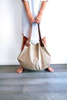 Beige leather bag Soft leather bag  Big brown por LadyBirdesign, $270.00
