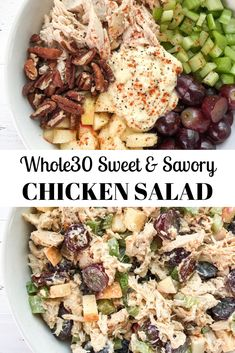 A sweet and savory chicken salad recipe with grapes apples pecans and celery! Perfect for meal prep. A sweet and savory chicken salad recipe with grapes apples pecans and celery! Perfect for meal prep. Whole Foods, Whole 30 Diet, Paleo Whole 30, Whole 30 Soup, Whole30 Chicken Salad, Chicken Salad Recipes, Salad Chicken, Chicken Salad Recipe With Pecans, Chicken Salad Healthy
