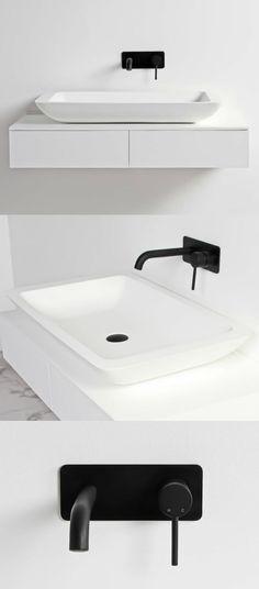 Black and white bathroom ideas. Minimal wall mounted tap in matt black. Stone basin by Lusso Stone. Bathroom Wallpaper Black And White, Black Bathroom Taps, Bathroom Sink Taps, Black White Bathrooms, Wood Bathroom, Small Bathroom, Basement Bathroom, Bathroom Cabinets, Bathroom Trends