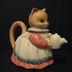 Kitty Cat Tea Pot Takahashi San Francisco Hand Painted from pastwareslane on Ruby Lane