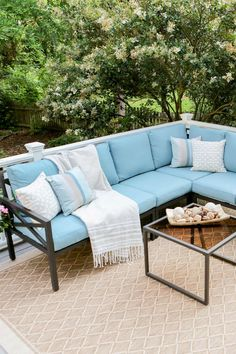 Leisure Made Blakely Metal Frame Patio Conversation Set with Cushions at Lowe's. Striking and sturdy, the Blakely corner sectional is a beautiful addition to any outdoor space. Built of rust proof aluminum, this set is made to Sectional Patio Furniture, Patio Furniture Sets, Colorful Furniture, Outdoor Sectional, Pallet Furniture, Asian Furniture, Backyard Furniture, Blue Furniture, Furniture Layout
