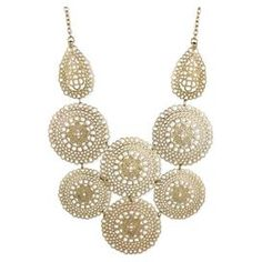 """Showcasing filigree medallion accents in gold, this bold necklace adds a stylish touch to your daytime outfits and evening ensembles alike.  Product: NecklaceConstruction Material: MetalColor: GoldFeatures:  Lobster claspDimensions: Overall: 16-18"""" HBib: 3.75 H"""
