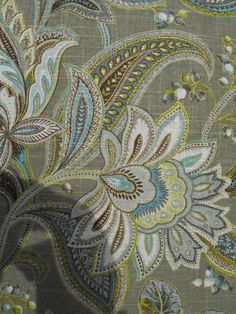 Peri Marietta Paisley Medallion Brown Aqua Green Tan