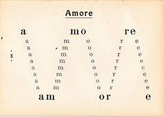 Amore by Nelson Murpurgo. It was published in his first volume of poetry in 1923 called Il Fuoco Delle Piramidi, with a preface by Marinetti. Graphic Design Books, Graphic Prints, Book Design, Poster Prints, Design Graphique, Art Graphique, Typography Letters, Lettering, Italian Futurism