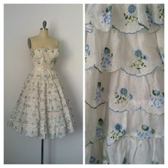 50s Wedding Dress / White Embroidered by CheshireVintageShop