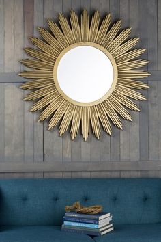 sol aged gold wall mirror