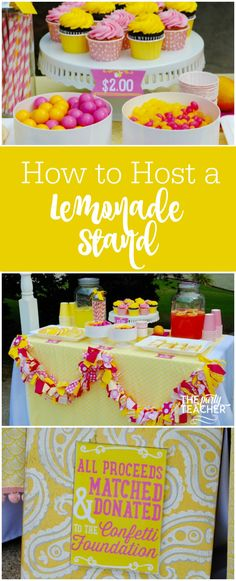 How to Host a Lemonade Stand by The Party Teacher   Want to know which treats will be the crowd pleasers at your bake sale? And which ones are super easy to make at home with your little helpers? Oh, and what to charge? ****  I've got you covered: http://thepartyteacher.com/2017/05/16/parties-pink-lemonade-stand/