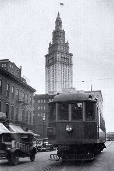 Lake Shore Electric (LSE) Combine 5 on W. 3rd., Terminal Tower in background ~ 1934 Cleveland, Ohio (photo by Ralph A. Perkin)