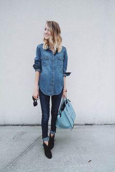 Love denim on denim outfits for fall! From http://www.littleblondebook.com/2015/09/ootd-91515.html.