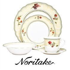 Noritake Fleur De Provence Porcelain 20 Piece Dinner Set