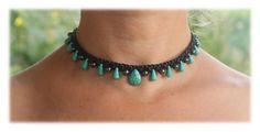 Black Beaded Macrame Choker with Turquoise & Hematite by Malatichan on Etsy