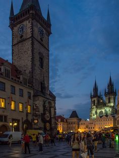 The Astronomical Clock and Tyn Church on Old town Square in Prague at night_ Czech Republic