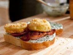 Fried Green Tomato BLT with Sweet Basil Mayo from CookingChannelTV.com are you freaking kidding me!? GET IN MY BELLY!!