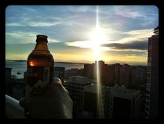 Enjoying a beer, the sunset, and the NHL Playoffs