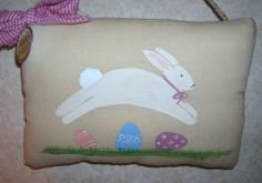 Primitive Spring EASTER Bunny Pillow Tuck Wall Hanging Holiday Decor Rabbit Eggs