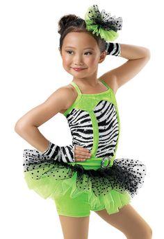 Jazz 2014 recital Girls' Zebra Skirt Biketard; Weissman Costumes