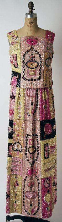 Dress, Evening  Emilio Pucci, Fall/winter 1964–65  silk, beading, rhinestones, sequins