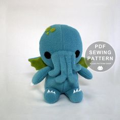 Cthulhu Plush Toy Sewing Patterns Stuffed Monster by ChebetoShop Cthulhu, Sewing Toys, Sewing Crafts, Sewing Projects, Plushie Patterns, Pdf Sewing Patterns, Doll Patterns, Softie Pattern, Sewing Stuffed Animals