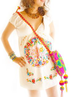 Victoria Mexican Deep V off shoulder embroidered by AidaCoronado, $128.00