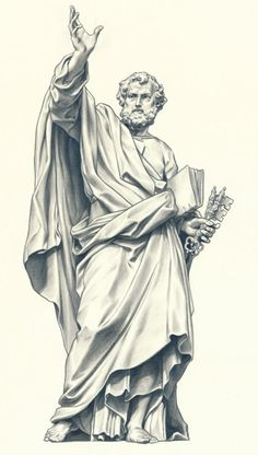 Peter~ He holds the keys☆ Catholic Art, Religious Art, Drapery Drawing, Art Sketches, Art Drawings, Christ Tattoo, Statue Tattoo, Religious Tattoos, Biblical Art