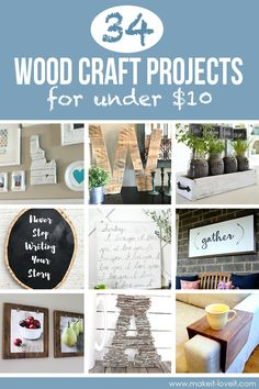 34 Wood Craft Projects for UNDER $10 (...great for Craft Night)!!! | via www.makeit-loveit.com