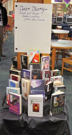 Dear Diary library book display. Books written in 1st person perspective, most are in diary format.