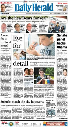 Daily Herald front page, Sept. 5, 2013; http://eedition.dailyherald.com/; Meet a young Elgin wood carver, http://www.dailyherald.com/article/20130904/news/709049647/