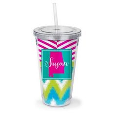 State Patterned Personalized Acrylic Tumbler with Straw