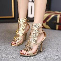 591fd8a062c2fb New Summer Women High Heels Gold Winged Leaves Cut-outs Stiletto Gladiator  Sandals Flame Party High heel Sandal Shoes Woman