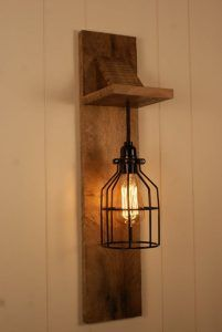 Cage Light Chandelier Wall Mount Fixture by Bornagainwoodworks - Wall Fixtures Pin Rustic Lamps, Rustic Lighting, Modern Lighting, Lighting Design, Industrial Lighting, Outdoor Lighting, Rustic Wood, Industrial Bedroom, Industrial Table