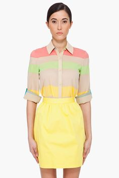 Alice And Olivia Multicolor Striped Silk Blouse