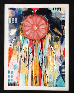 This DreamCatcher II 56x76 Paper on Hardboard  Is created in Mallorca Spain, where I live most of the year. My name is Line Bank, I'm a dane & I get inspired by the life I have lived so far :), by the colors of the world, I just have to let it out.  The price for this painting is 500€  Postal cost depends on where it goes to. Contact : www.facebook.com/banksabstractions www.linebank.dk/contact  If you like to buy this painting.  ❤️ Line