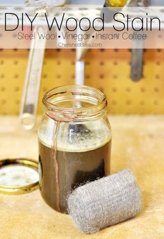 Make your own DIY wood stain using just steel wool, vinegar, and instant coffee. This is a great stain to use to help new wood look older! Do It Yourself Furniture, Do It Yourself Home, Diy Furniture, Painting Furniture, Diy Projects To Try, Wood Projects, Woodworking Projects, Woodworking Finishes, Craft Projects