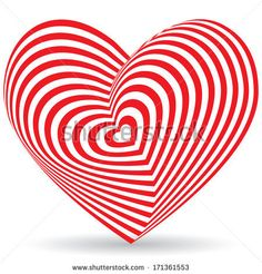Red heart on a white background. Optical illusion of 3D three-dimensional volume. vector by EkaterinaP, via Shutterstock