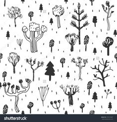 Seamless pattern with trees. Doodles. Forest background. Vector.