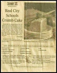 LAUSD Coffee Cake recipe discovered!!!