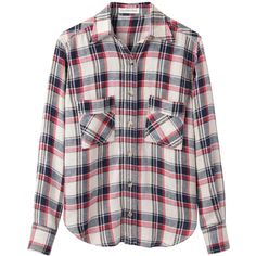 Isabel Marant Étoile Upton Plaid Shirt (315 CAD) ❤ liked on Polyvore featuring tops, shirts, blouses, flannels, red plaid shirt, oversized plaid shirt, plaid shirts, side slit shirt and oversized long sleeve shirts