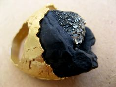 Ornella Iannuzzi 'On the Rocks' ring, 2011 - silver, pyrite and gold leaf.