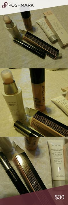 Mary Kay Bundle Mascara Timewise & Foundation This is a 95% full to new lot of Mary Kay. Timewise 1 oz even complexion essence, timewise microdermabrasion 1 oz, black brown mascara, and 1 oz medium coverage foundation. Makeup