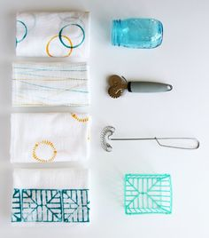 Stamped Dish Towels with Small + Friendly!   this heart of mine