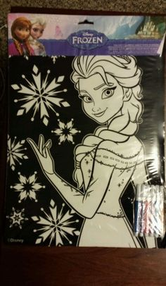 Disney Frozen Elsa Velvet Coloring Poster with Markers #Disney
