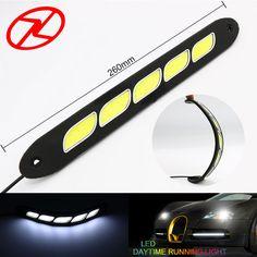 2PCS Pure White LED Daytime Running Light Flexible DRL Waterproof Day Light COB Car Driving Light Lamp 12 V