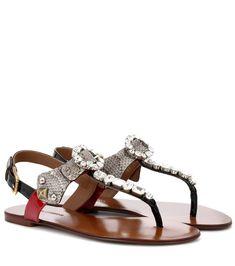 58ca794bc92d3 Dolce  amp  Gabbana - Crystal-embellished snakeskin sandals