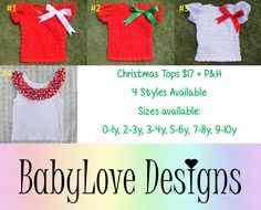 Pre-Order Christmas Tops $17 + P&H  4 Styles available, Sizes from 0 - 10y  *Please Note - We will be closed last 2 weeks of October so all orders will need to be in by then.*Lay-By Available*ETA November*