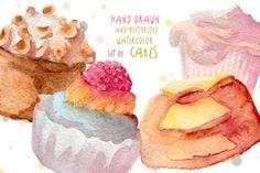 Watercolor cupcakes hand drawn by NastyaVesna on Creative Market