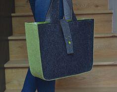Items similar to Big Felt Tote with cut out flower pattern Shoulder Bag felt Tote Gray Color Shopper felt bag on Etsy